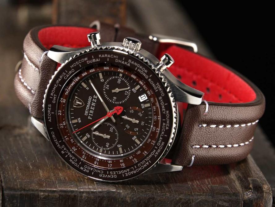 Pánské hodinky Detomaso Firenze - hnědé 7568d25347