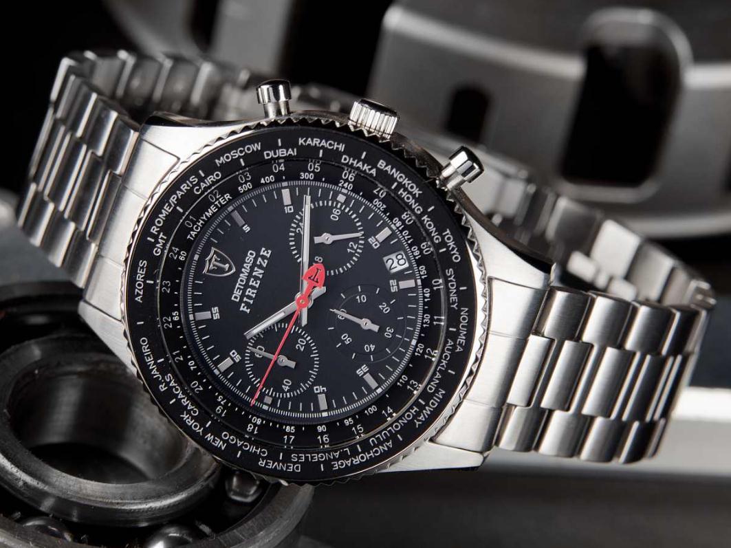 Pánské hodinky Detomaso Firenze - černo-stříbrné metal b4806bb5d4