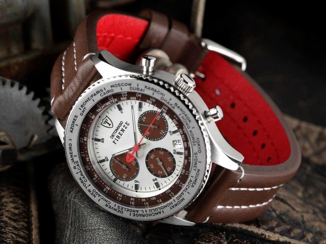 Pánské hodinky Detomaso Firenze - hnědo-stříbrné empty 300b55997bb