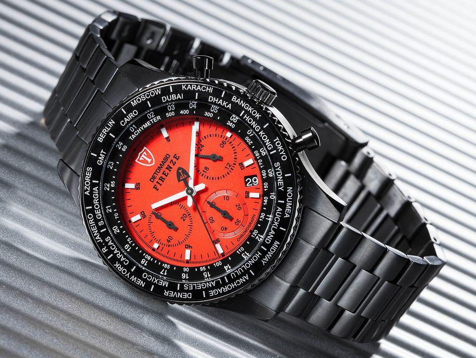 Pánské hodinky Detomaso Firenze - černo-červené metal empty c4f9d76f2ce